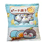 Kawaii Plush Pillow Cushion Cute Snack Bag Kawaii Soft Toys Pillow with Mini Soft Dolls Pudding Plush Toy Stuffed Animal Fluffy Hugging Pillow Home Decorative Cushion Novelty Gift for Kids/Adults