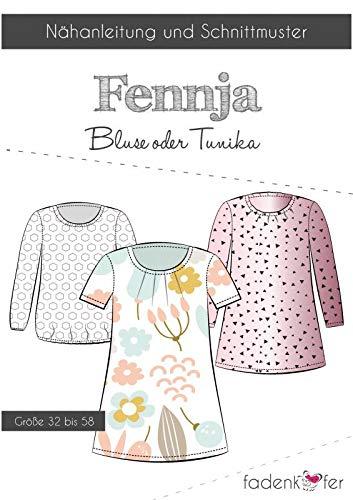 Stoffe Werning Schnittmuster Fadenkäfer Fennja Damen Bluse oder Tunika in den Größen 32 bis 58 Papierschnittmuster