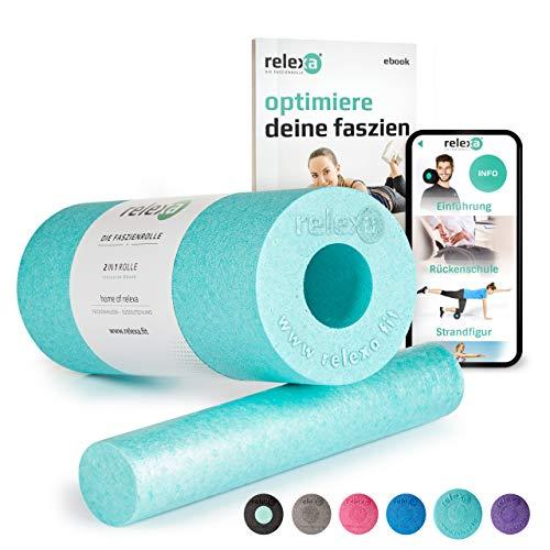 relexa 2in1 Faszienrolle, 2-teiliges Selbstmassagegerät mit herausnehmbarem Kern, mittlere Härte, Ganzkörper Foam Roller, inkl. Faszien-eBook, 35 x 14 cm (L x Ø), in Türkis