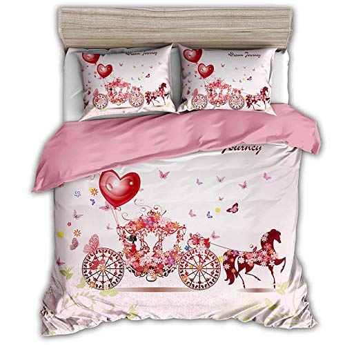 LJJYF Juego de sabanas,3D Fashion Series Bedding Set, Duvet Cover with 2 Pillowcases, Children's Bedroom Single King-Wedding_Car_200*230cm(3pcs)