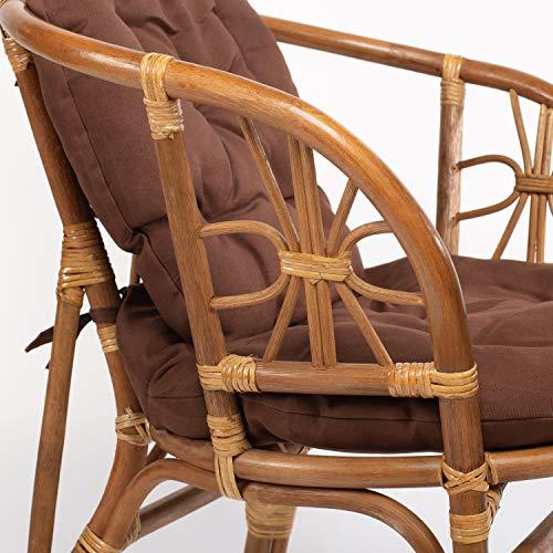 Rattan Gartenmöbel Set - Balkon Möbel - Lounge Möbel Terrasse - Ragnarök Gartenmöbel - Tisch Set - Balkonmöbel Set mit Couch (Hellbraun - Schokolade) - 3