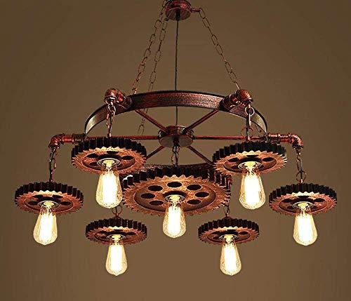 Xiao Fan Retro kroonluchter stijl licht, industrieel verstelbaar grote moderne houten wind Edison plafond kroonluchter lamp boerderhuisdecoratie E27 antiek voor keuken woonkamer, 7 stopcontacten