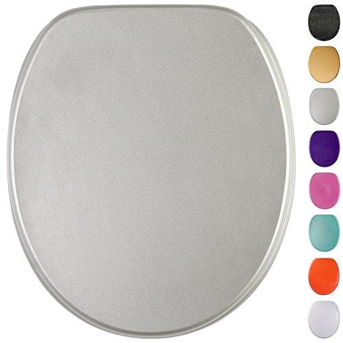 Glitzer WC Sitz mit Absenkautomatik, viele schöne Glitzer WC Sitze zur Auswahl, hochwertige und stabile Qualität aus Holz (Silber)