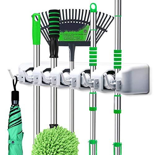 PUAIDA Besenhalter, Wand Gerätehalter mit 5 Schnellspannern und 6 Haken, perfekt Mop Besen Ordnungsleiste für Gartenwerkzeug Küche Badezimmer Garage(Grau)
