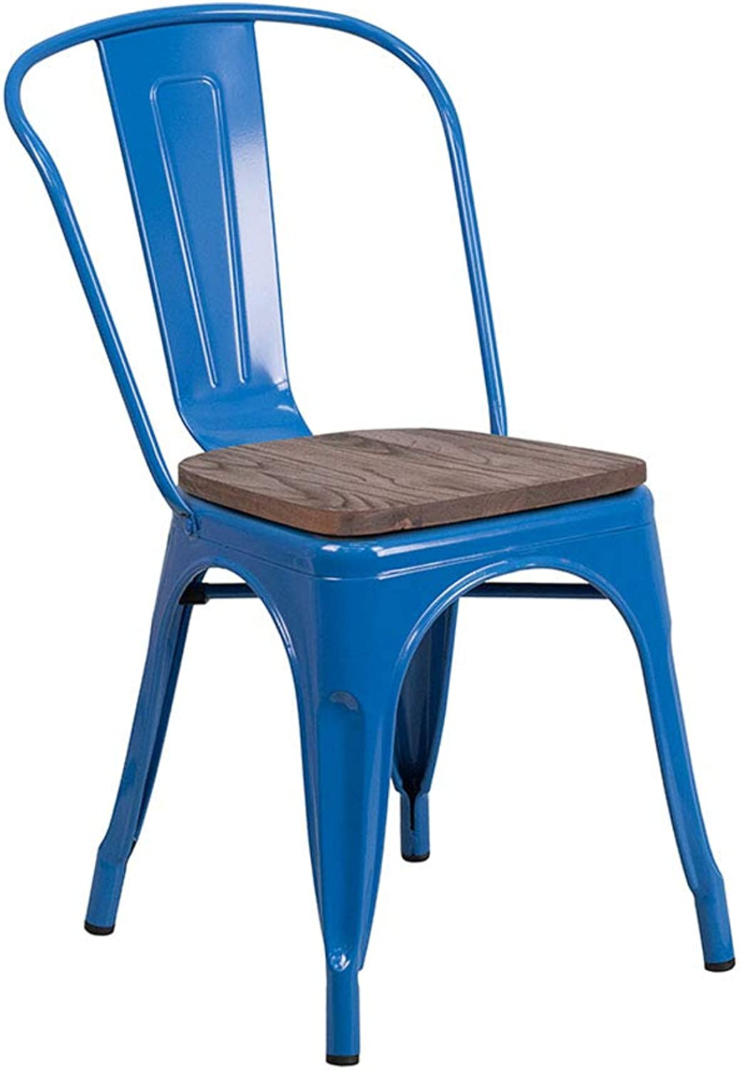 Flash Furniture CH-31230-BL-WD-GG Metal Stackable Chair with Wood Seat - bluee