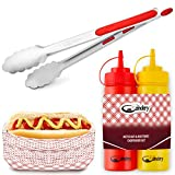 The Candery All-in-One Hot Dog Accessories Set- Ketchup and Mustard Squeeze Bottles - BBQ Tongs - 50...