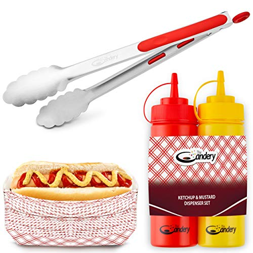 The Candery All-in-One Hot Dog Accessories Set- Ketchup and Mustard Squeeze Bottles - BBQ Tongs - 50 Red/White Hot Dog Trays for Carnivals, BBQs, Picnics, Concession Stands (Tongs,Trays Squeeze Bottles)