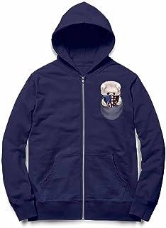 Fox Republic ポメラニアン 星条旗 アメリカ ポケット ネイビー キッズ パーカー シッパー スウェット トレーナー 130cm