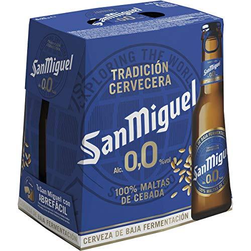 San Miguel 0,0 Cerveza Pilsner - Pack de 6 Botellas x 25 cl, Sin Alcohol