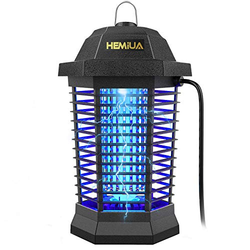 HEMIUA Pro Bug Zapper Mosquito Killer for Outdoor and Indoor - Waterproof Insect Fly Pest Attractant Trap, 4200V Powered Electric for Backyard, Patio - Hangable Black