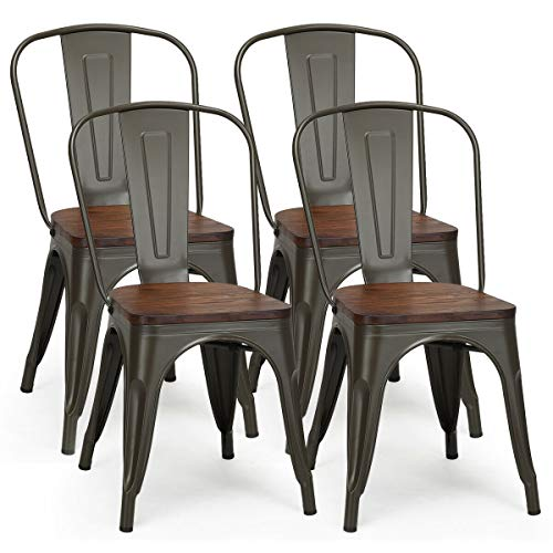 COSTWAY 18 Inch Dining Chair Set of 4, Industrial Vintage Stackable Metal Chairs, Counter Bar Chairs with High Backrest, Wood Seat, for Home, Kitchen and Cafe Bar Use