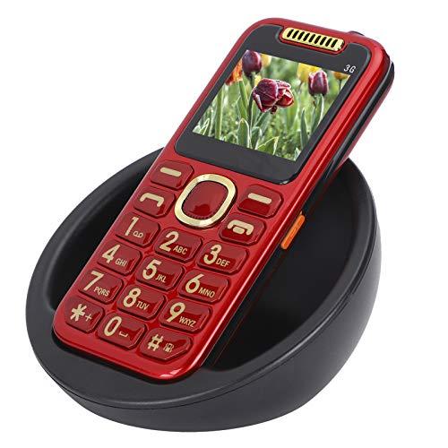 Teléfono móvil con botón para personas mayores,teléfono móvil con botones grandes para personas mayores,teléfono móvil con doble SIM 3G de 2.0 pulgadas y base de carga,gran volumen,linterna LED(rojo)