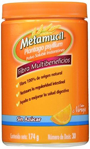 Metamucil Suplemento de Fibra Sabor Naranja sin Azucar, 174 gr