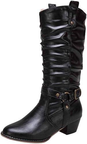Fuxitoggo botas zapatos de mujer botas de mujer Tacón Medio Tacón Medio Rodilla Alta Antideslizantes Botines de Cuero sintético zapatos Casuales Hauszapatos de Deporte de Invierno