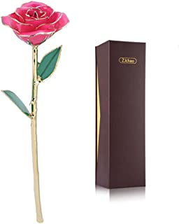 zjchao Pink Gold Rose, Long Stem 24k Gold Dipped Rose Flower Best Gift for Valentine's Day Anniversary and Birthday Pink Roses for Women(Pink)