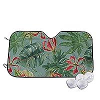 熱帯 植物 花の葉 車用 フロント サンシェード 強力断熱&UVカット 軽量 コンパクト 日よけ フロントシェード 軽自動車 吸盤2個