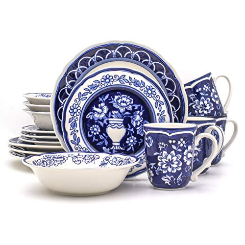 Euro Ceramica Blue Garden 16 Piece Oven Safe Hand Painted Stoneware Dinnerware Set, Service for 4, Bold Vase Design/Floral Pattern, White