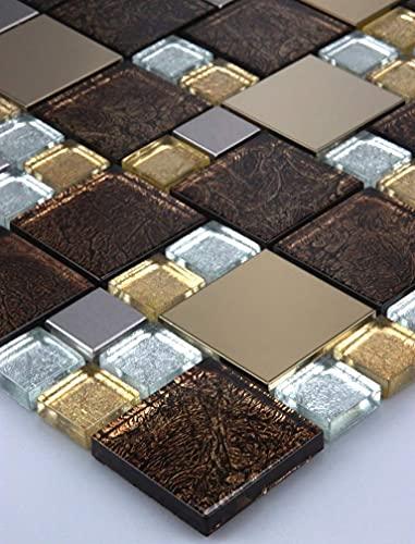 11 mattonelle a mosaico in vetro, 1 m², in acciaio inox, oro, marrone, nero