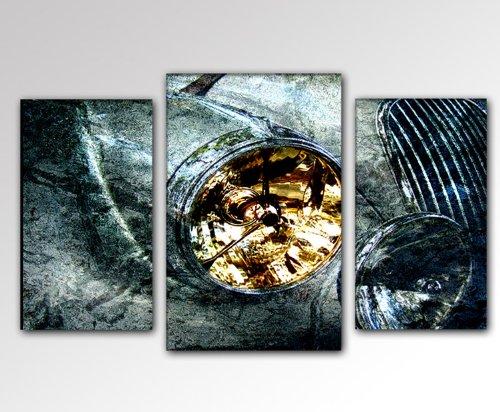 SENSATIEPRIJS! Afbeelding op canvas - modern Art Design 3-delig (oldtimer-30x50-40x60-30x50) kunstdruk op frame met afbeeldingen motief (auto oude koplamp motorkap abstract vormen contour) . Pennen, ideaal als cadeau voor familie en vrienden. Mooier wonen met foto als afbeelding - Picture at Home. 100% Made in Germany - kwaliteit uit Duitsland. Meer mooie foto´s in de online winkel afbeelding.