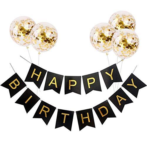 Kit de decoración de fiesta de cumpleaños, 1 pancarta de feliz cumpleaños y 5 piezas de globos de confeti de oro para decoraciones de fiesta de cumpleaños, suministros para fiestas