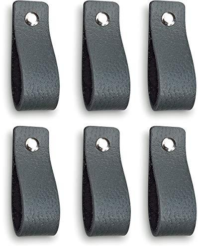 Brute Strength - Tirador de cuero - Gris oscuro - 6 piezas - 16,5 x 2,5 cm - incluye tres colores de tornillos por manija de cuero para los gabinetes de cocina - baño - gabinetes