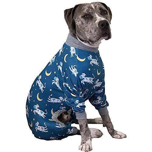 Zahn und Honig Pitbull Schlafanzug, Kuh über dem Mond, Sternmuster, leichter Pullover, vollständige Abdeckung, Blau mit hellgrauem Rand