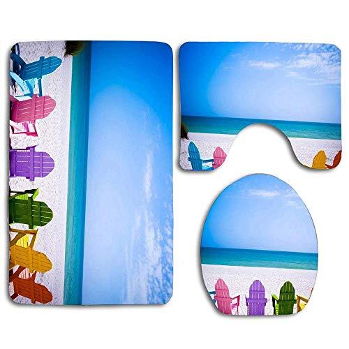 N\A Strandkorb Badteppich 3er-Set Rutschfester Badteppich Konturmatte und Toilettendeckelabdeckung für Wohnzimmer Schlafzimmer