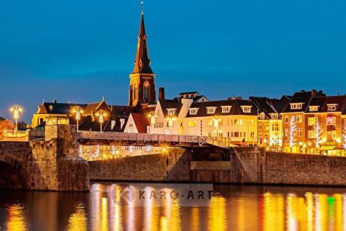 Karo-art - Schilderij - Maastricht, Sint Servaas brug - Canvas - Muurdecoratie