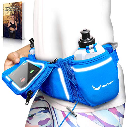 [Voted No.1 Hydration Belt] Blue Winners' Running Fuel Belt - Includes Accessories: 2 BPA Free Water Bottles & Runners Ebook - Fits Any iPhone - w/Touchscreen Cover - No Bounce Fit and More!