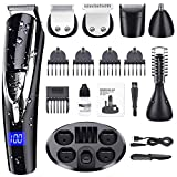 PURKOO Hair Clippers Men,Beard Trimmer Men Rechargeable Hair Trimmer Cordless,10 in 1 Grooming