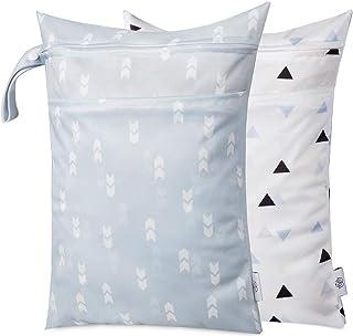 Wet Dry Bag Kid Wet Bag Baby Cloth Diaper Wet Suit Bags Waterproof with Zipper and Snap Handle 2pcs