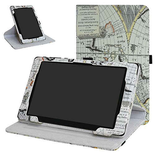 Mama Mouth 360 Degree Rotating Stand with Cute Pattern Case for 8' Nextbook Ares 8 (NXA8QC116) / Flexx 8 (NXW8QC132) / Nextbook 8 (Old Version NXW8QC16G) Windows 8.1 Tablet,Map Wihte