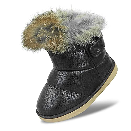 Baby Girls Soft Leather Booties Winter Snow Boots Kids Cute PU Warm Fur Outdoor Boots Keep Warm Waterproof Walking Shoes Flat for Toddler Girls Size 6 UK Child Black