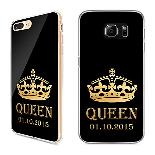 Handyhülle King und Queen - Apple Hardcase + Name oder Datum Gold Hülle, Handymodell:Apple iPhone 7, Hüllendesign:Design 4 | Hardcase Klar