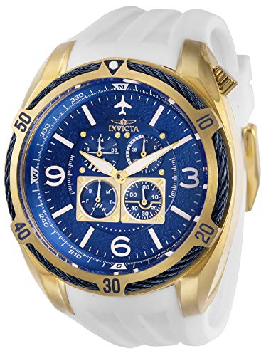 Invicta Men's Aviator Stainless Steel Quartz Watch with Silicone Strap, White, 32 (Model: 28081)