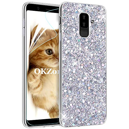 OKZone Cover Samsung Galaxy A6 Plus 2018, Custodia Lucciante con Brillantini Glitters Ultra Sottile Design Case Cover di Alta qualità in Silicone TPU Cover per Samsung Galaxy A6 Plus 2018 (Argento)