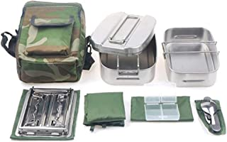 WZHZJ Canteen Cookware Set Camping Canteen Mess Kit Stainless Steel Canteen with Mess Tin Lid Stove Spoon Fork