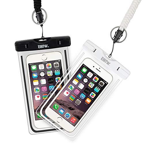EOTW Funda Aqua Movil IPX8 Funda Sumergible Móvil 2 Pack para Huawei P20 P30 Pro iPhone X XS MAX XR 8 Plus Samsung S10 S9 S8+ J7 y Otros Móviles hasta 6.5 Pulgadas (Negro+Blanco)