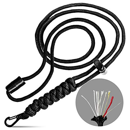Paracord Lanyard Survival 550 Fish amp Fire Cord Men#039s Gift Black Clip