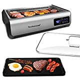 Indoor Smokeless Grill Techwood 1500W Electric Grill with Tempered Glass Lid & LED Smart Control Panel, 8-Level Control Korean BBQ Grill with Removable Grill/Griddle Plate, Stainless Steel, Silver
