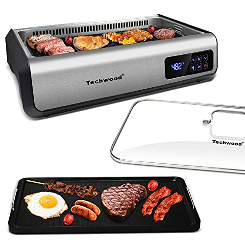 Indoor Smokeless Grill Techwood 1500W Electric Grill with Tempered Glass Lid & LED Smart Control...