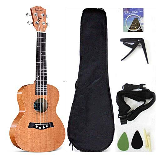 Ukelele de concierto de la marca Musoo hecho de una tapa de caoba sólida, viene con bolsa, correa, cuerdas de repuesto de nylon y púas, color natural, 23 pulgadas