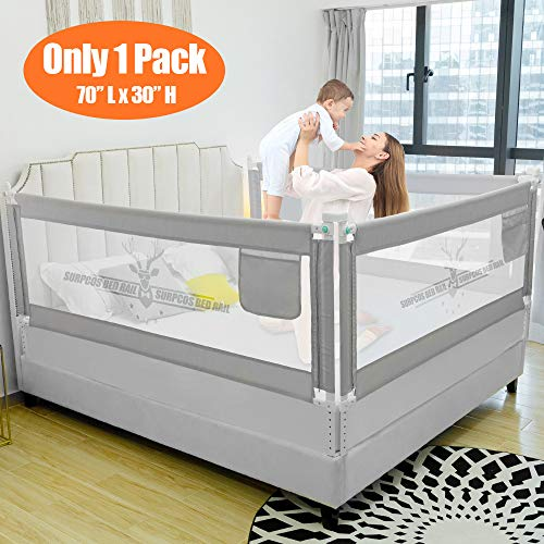 """SURPCOS Bed Rails for Toddlers - 60"""" 70"""" 80"""" Extra Long Baby Bed Rail Guard for Kids Twin, Double, Full Size Queen & King Mattress (Bucks, 1Side:70"""