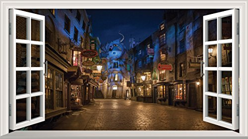 Harry Potter Diagon Alley 3D Magic Window V0101 Wall Sticker Self Adhesive Poster Wall Art Size 1000mm wide x 600mm deep (large)