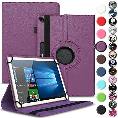 Nauci Tablet Schutz Hülle kompatibel für Archos 101 Oxygen Schutzhülle Kunst-Leder 10.1 Zoll 360° Drehbar Cover Universal Case, Farbe:Lila