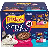 Purina Friskies Gravy Wet Cat Food Variety Pack, Warm'd & Serv'd Grill'd Bites with Chicken & with Tuna - (24) 3.5 oz. Pouches