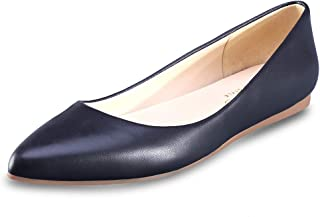 CZZPTC Leather Women's Flat Shoes Classic Casual Pointed Toe Ballet Flats Shoes for Women Black