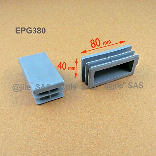 ajile - 4 piezas - Contera acanalada para tubo rectangular 80 x 40 mm - GRIS - EPG380