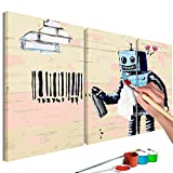 murando Dipingere con i Numeri Kit Banksy Robot 90x60cm 3 Pezzi DIY Fai da Te Quadri da Dipingere Numerati per Adulti Bambini Dipinti a Mano su Tela Pittura Cornice n-A-0609-d-e