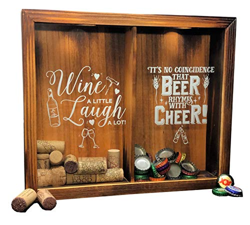 """Wine Cork & Beer Cap Holder Shadow Box, Wall Mounted or Free Standing, Wine & Bar Decor for Him & Her, Rustic Stained Wood, 11"""" x 13"""""""